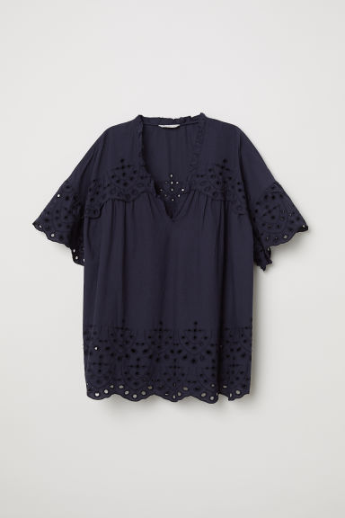 Blouse with broderie anglaise - Dark blue - Ladies | H&M CN