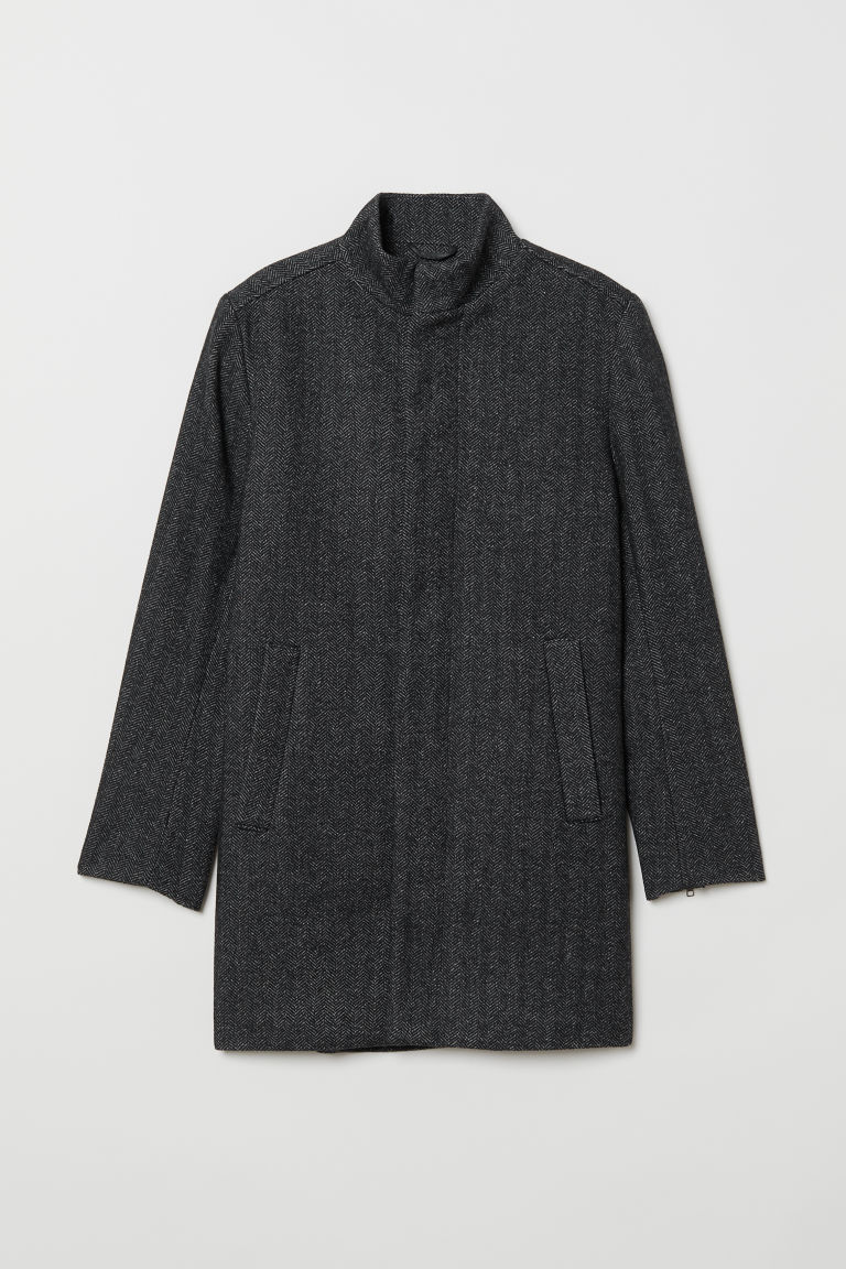 Coat with a stand-up collar - Black/Herringbone-patterned - Men | H&M CN