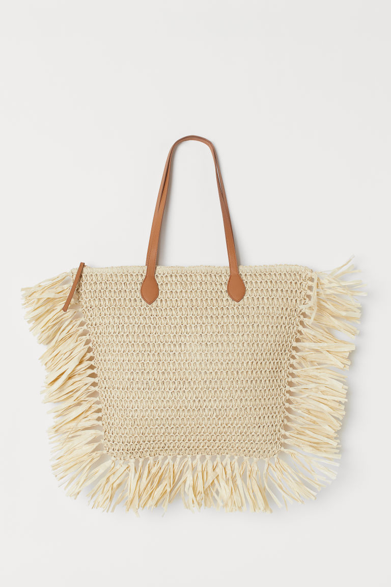 Paper Straw Shopper - Light beige - Ladies | H&M US 1