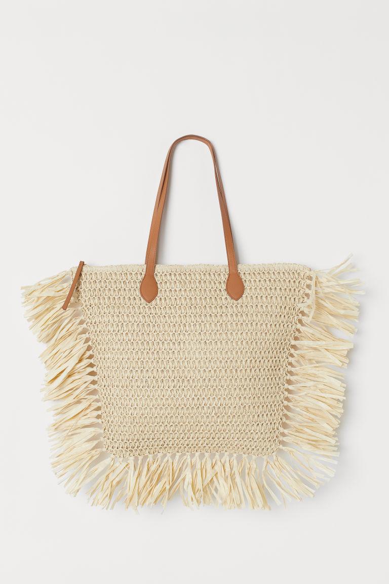 Paper Straw Shopper - Light beige - Ladies | H&M US 1