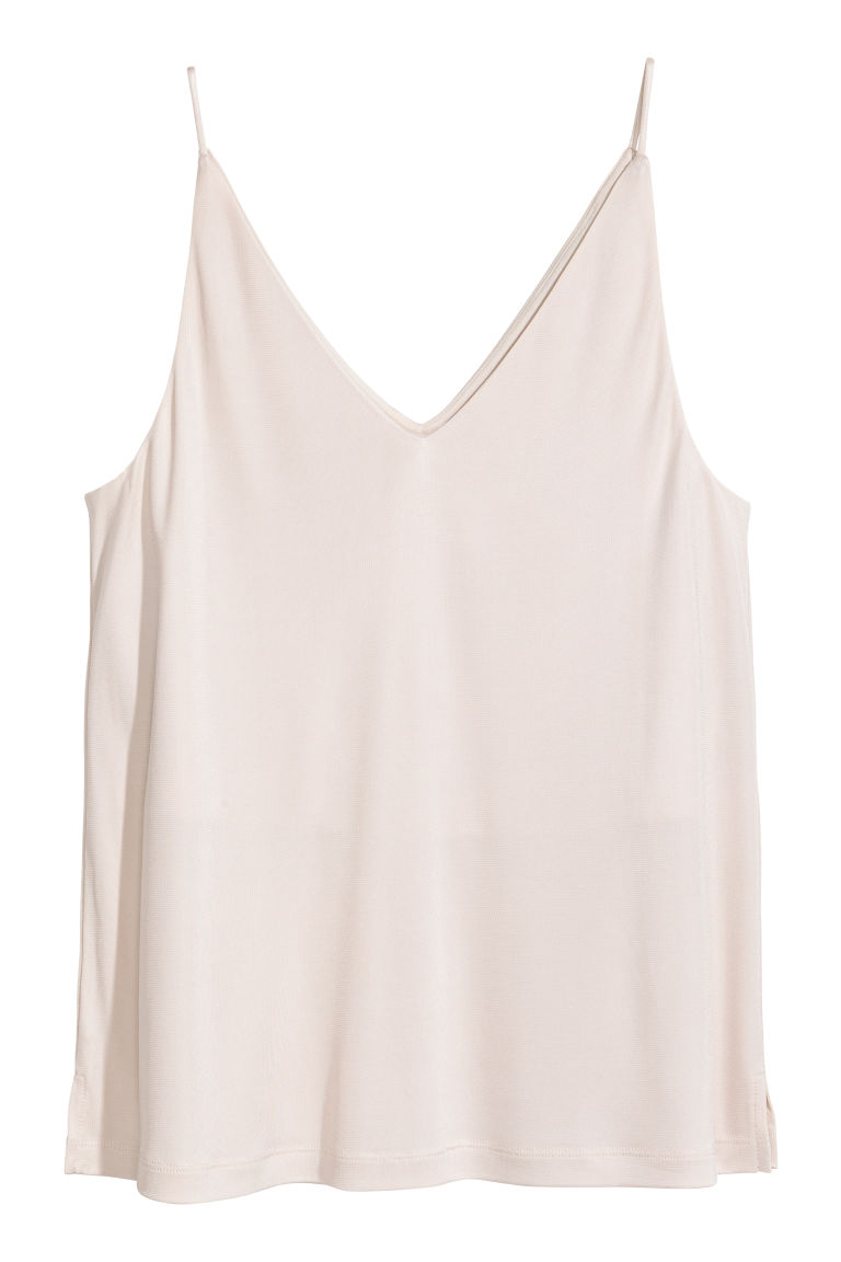 V-neck top - Light beige - Ladies | H&M GB