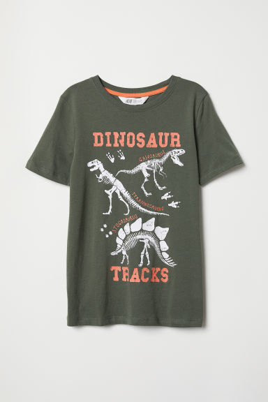 Printed T-shirt - Khaki green/Dinosaur tracks - Kids | H&M CN