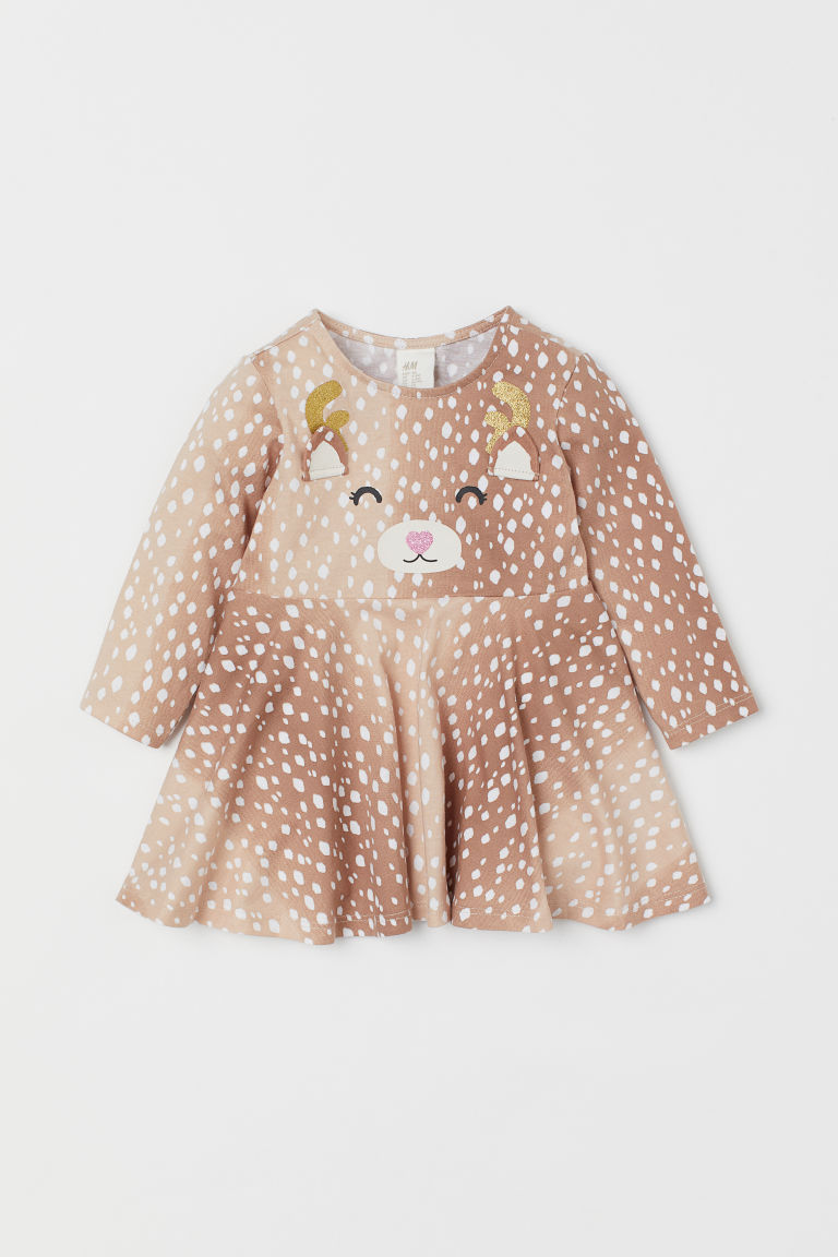 Cotton jersey dress - Beige/Reindeer - Kids | H&M GB
