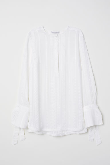 Button-placket blouse - White - Ladies | H&M