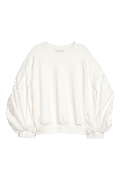 Balloon-sleeved top - White - Ladies | H&M IE