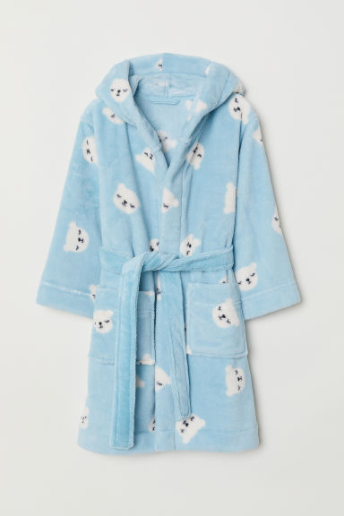 Fleece dressing gown - Light blue/Bears - Kids | H&M