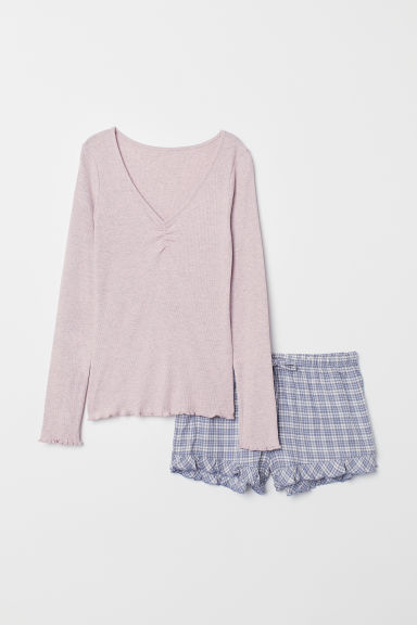 Pyjama top and shorts - Pink marl/Checked - Ladies | H&M