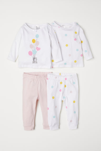 2-pack pyjamas - White/Spotted - Kids | H&M GB