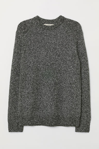 Cotton-blend jumper - Black/White marl - Men | H&M