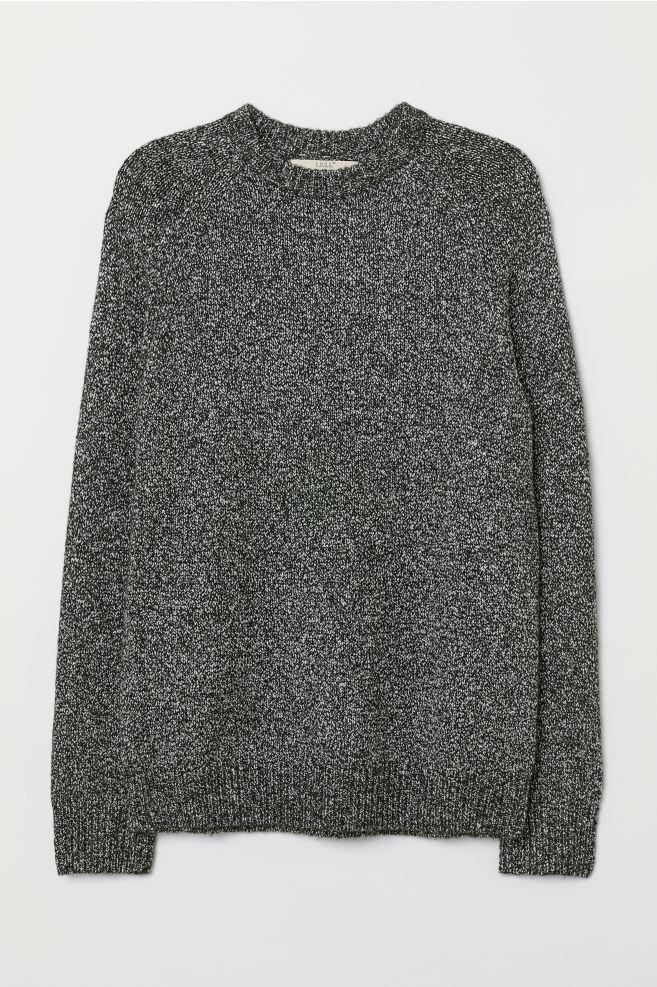545f8a57 Strikket genser i bomullsmiks - Sort/Hvitmelert - HERRE | H&M ...