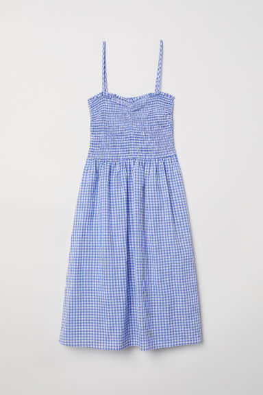 Dress with smocking - Blue/White checked -  | H&M CN