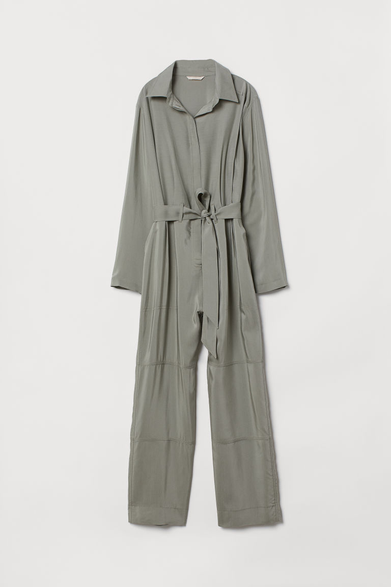 Jumpsuit with a collar - Light khaki green - Ladies | H&M CN