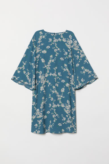 Patterned dress - Dusky blue/Floral - Ladies | H&M