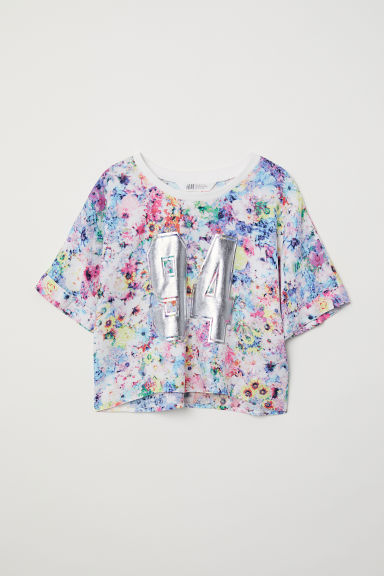 Printed top - White/Floral - Kids | H&M