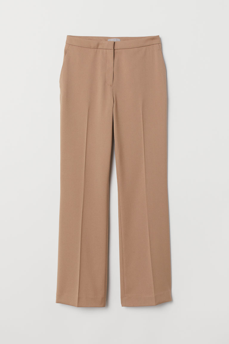 Trousers with creases - Beige - Ladies | H&M