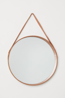 Leather-framed Round Mirror