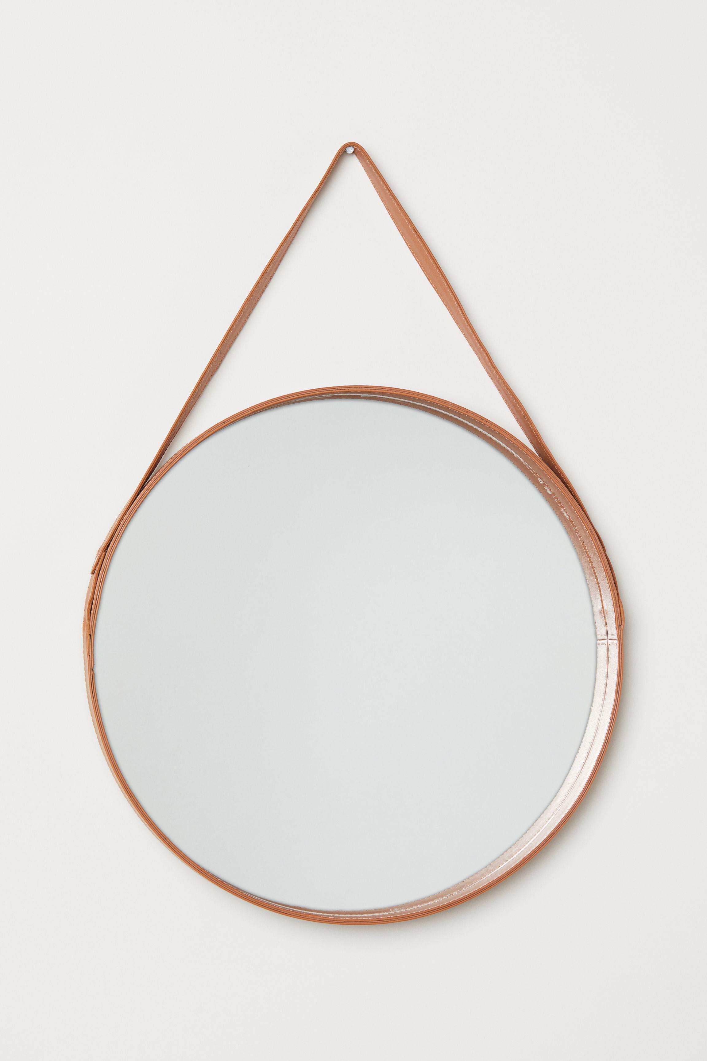 Leather Framed Round Mirror
