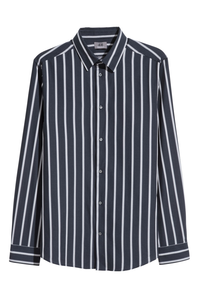 Premium cotton shirt - Dark blue/Striped - Men | H&M