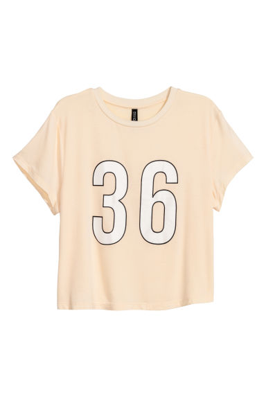 Short-sleeved jersey top - Light powder beige -  | H&M