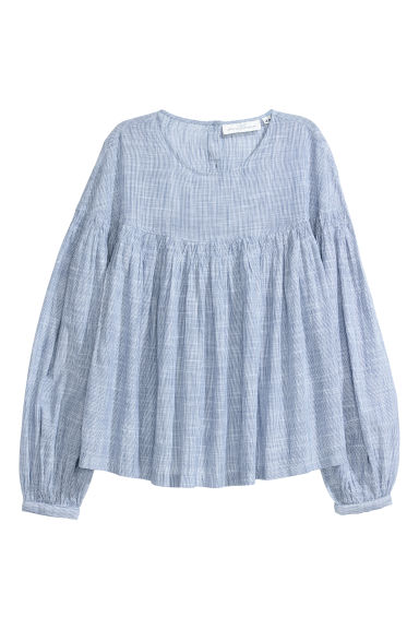 Cotton blouse - Blue/White striped -  | H&M IE