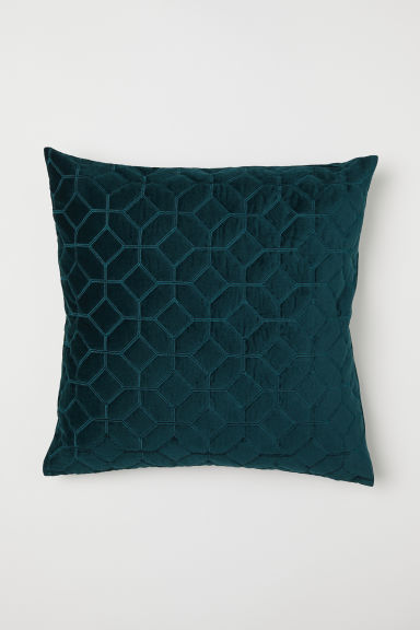 Quilted velvet cushion cover - Dark green - Home All | H&M CN