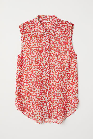 Sleeveless blouse - White/Floral - Ladies | H&M