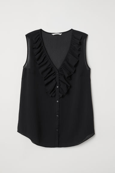 V-neck blouse with a flounce - Black - Ladies | H&M