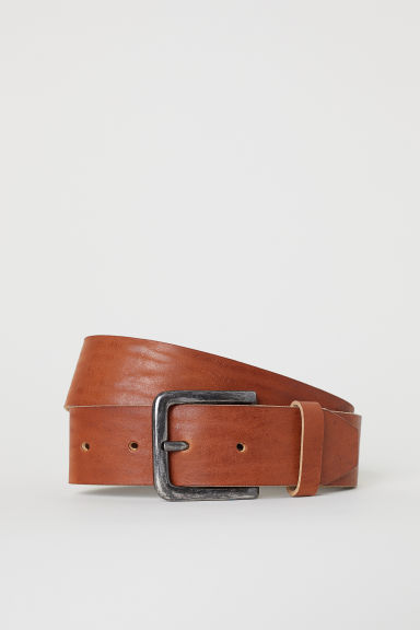 Wide leather belt - Cognac brown -  | H&M