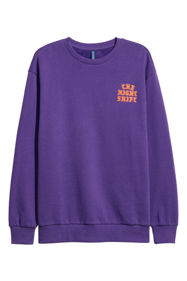 Sweatshirt with a motif - Purple/The Night Shift - Men | H&M GB