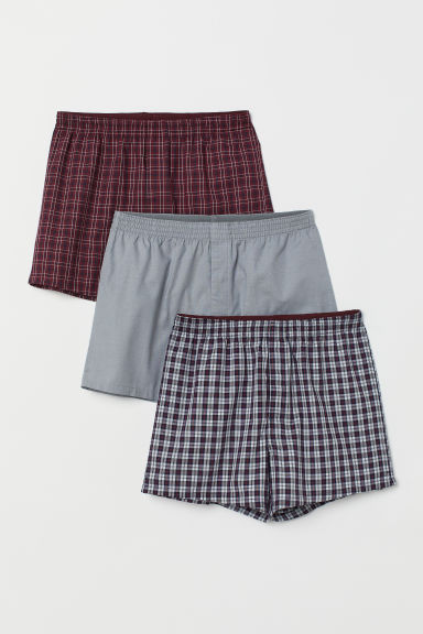 3-pack woven boxer shorts - Dark red/Checked - Men | H&M CN