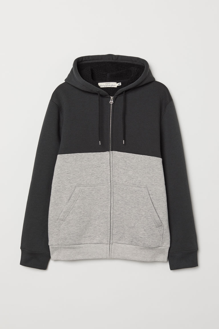 Pile-lined hooded jacket - Black/Grey marl - Men | H&M CN