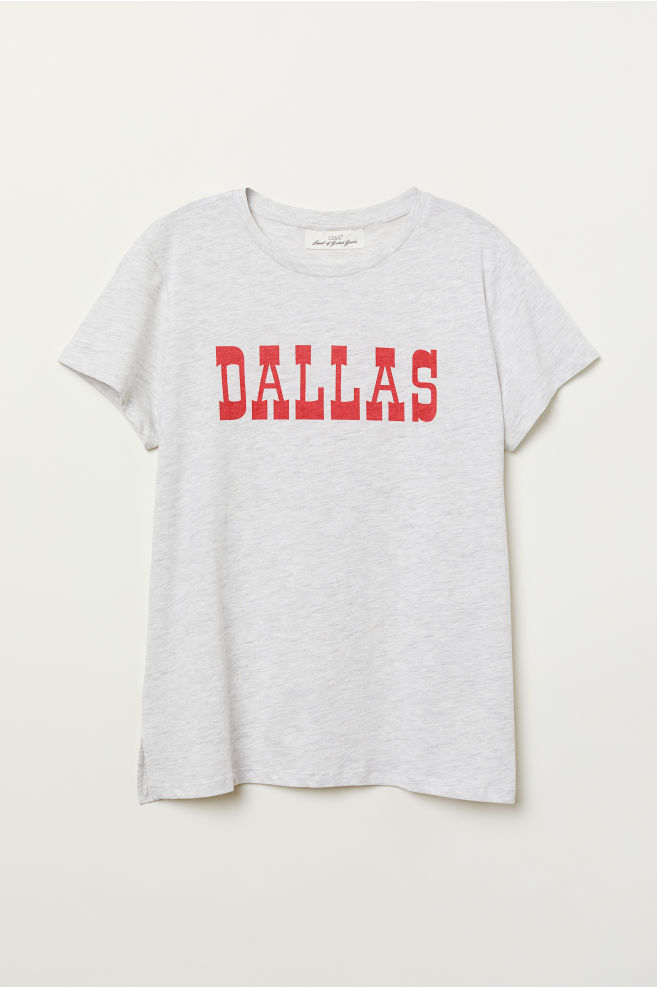 518c2f9e52b T-shirt with Printed Design - Light gray melange Dallas - Ladies ...