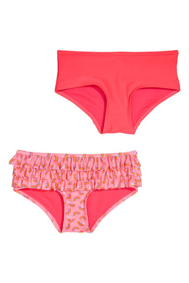 2-pack bikini bottoms - Neon pink/Rainbows -  | H&M CN