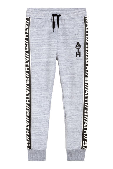 Printed sports trousers - Light grey marl -  | H&M CN