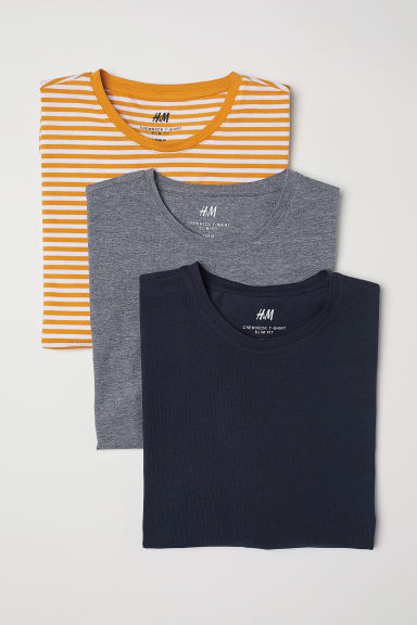T-shirts Slim Fit, lot de 3 - Jaune rayé - HOMME | H&M BE