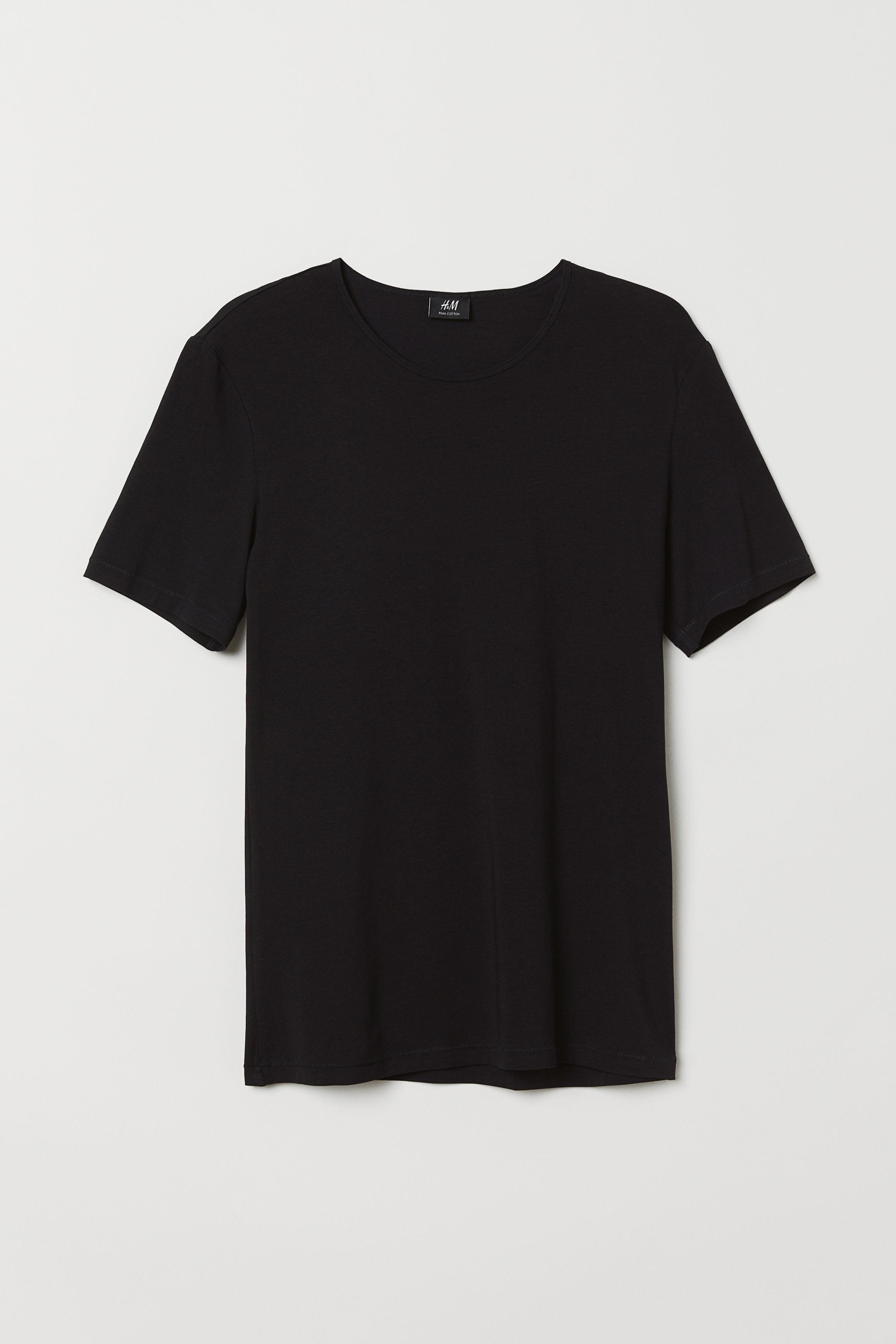 Pima Cotton T-shirt - Black - Men