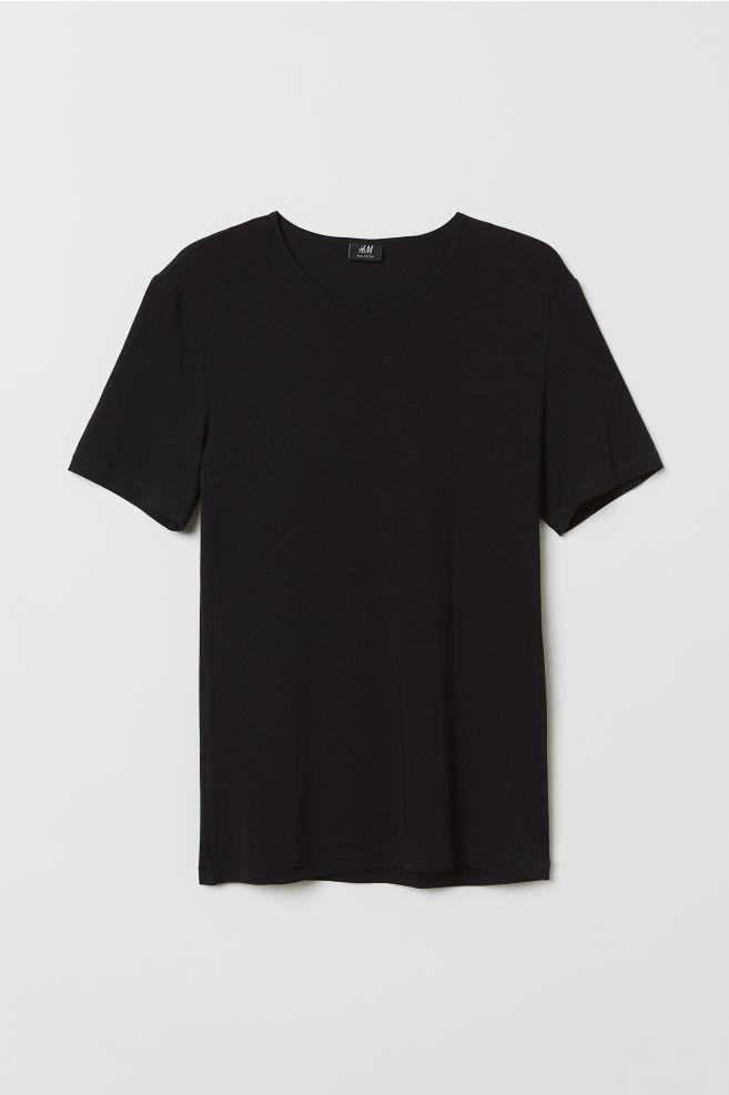 c72789d25 Pima Cotton T-shirt - Black - Men   H&M ...