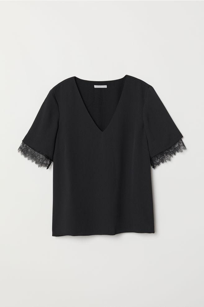 3fd4c47d68c861 V-neck Blouse with Lace - Black - Ladies | H&M ...