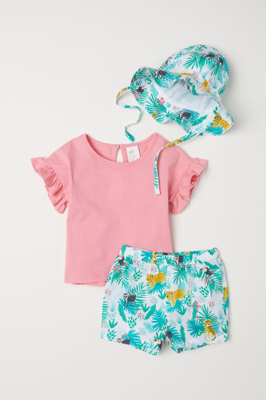 Driedelige katoenen set - Roze/jungle -  | H&M BE