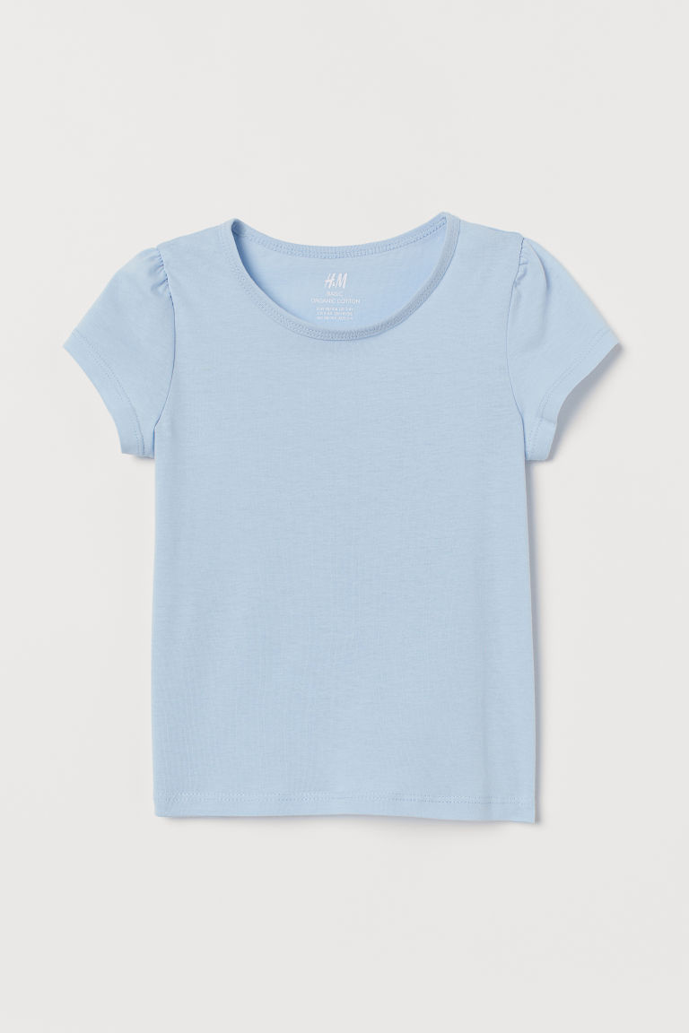 Top with puff sleeves - Light blue - Kids | H&M CN