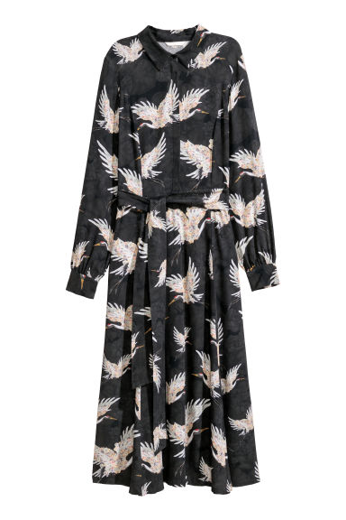 Patterned dress - Black/Birds -  | H&M
