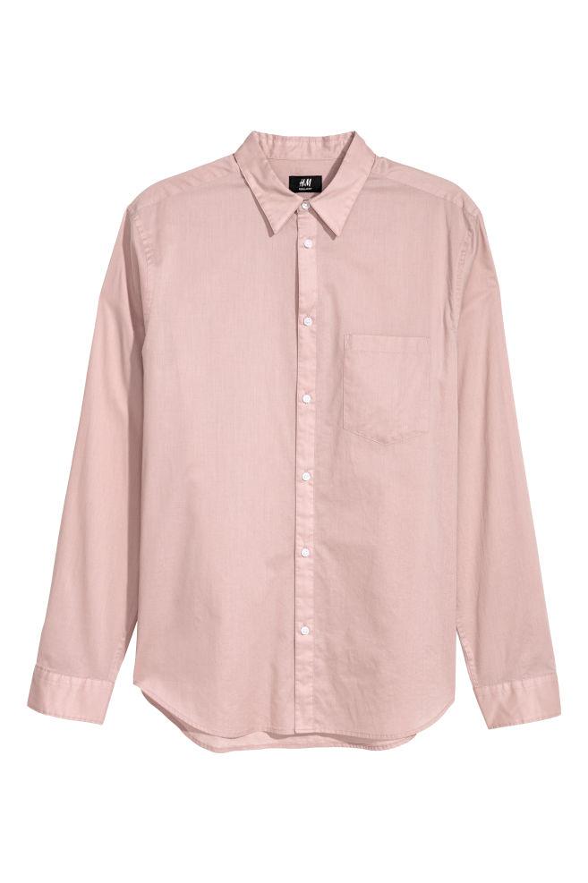 Katoenen Overhemd Heren.Katoenen Overhemd Regular Fit Oudroze Heren H M Nl