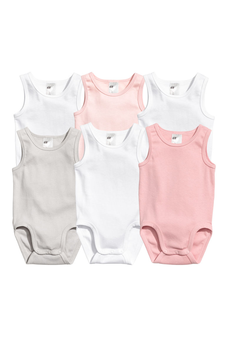 6-pack sleeveless bodysuits - Light pink - Kids | H&M