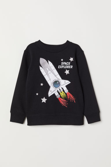 Appliquéd sweatshirt - Black/Rocket - Kids | H&M