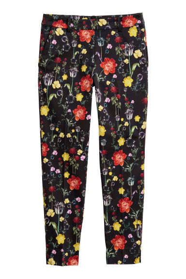 Patterned cigarette trousers - Black/Large floral - Ladies | H&M