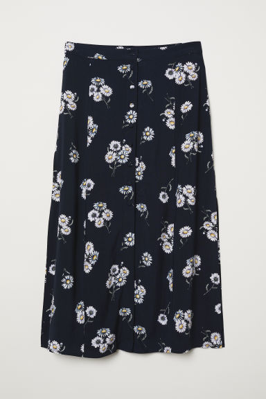 Calf-length viscose skirt - Dark blue/Floral -  | H&M CN