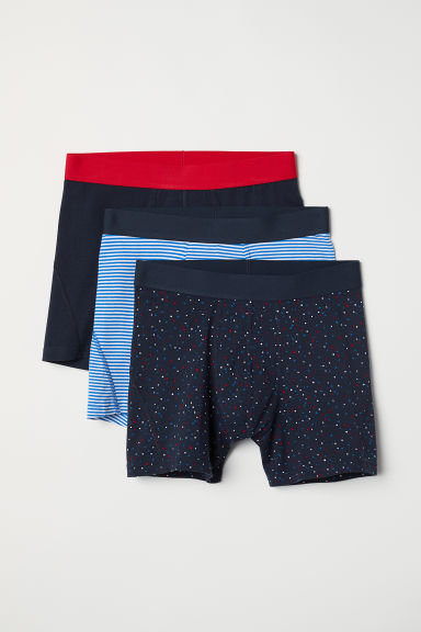 3-pack mid trunks - Dark blue/Patterned - Men | H&M