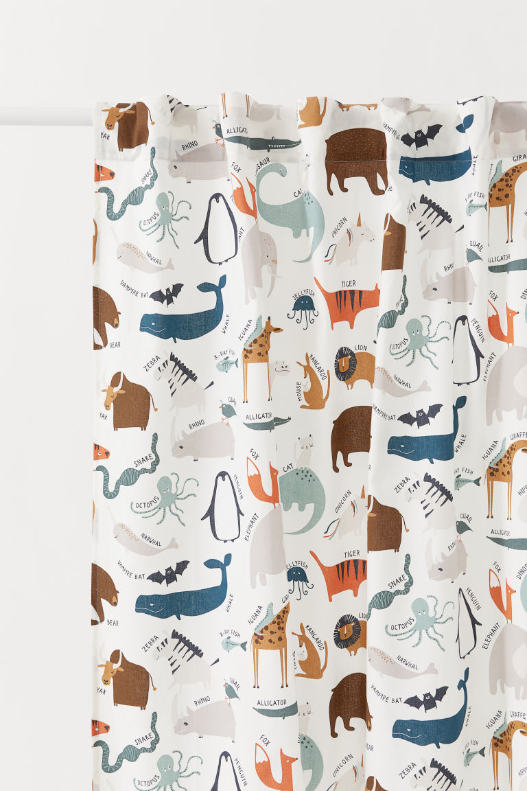 Patterned Curtain Panel - White/animals - Home All | H&M CA