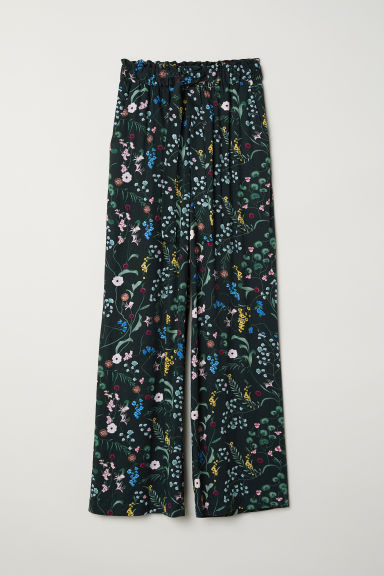 Paper bag trousers - Dark green/Floral - Ladies | H&M