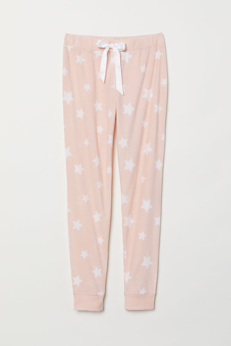 Fleece pyjama bottoms - Pink/Stars - Ladies | H&M